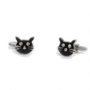 Black Cat with Diamanté Eyes Novelty Cufflinks by Onyx-Art in Gift Box CK249